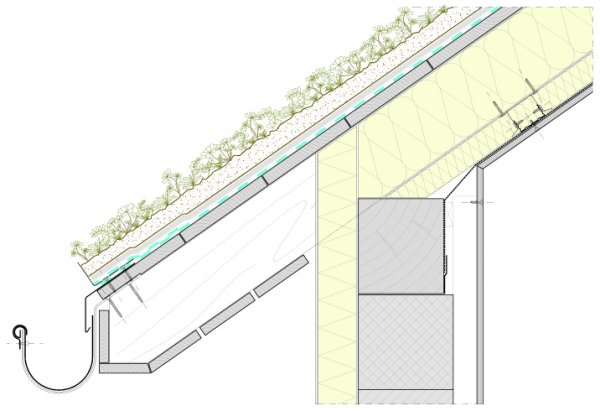 Detajl poševne strehe Xeroflor