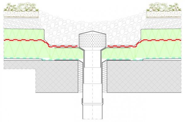 Detajl zelene strehe Xeroflor